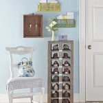 Small entryway shoes rack in cool shabby look small white chair with cushion two plastic shelves mounted on wall wooden key holders