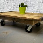 Solid wood coffee table with wheels