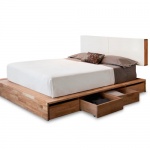 Solid wood platform bed frame with storage and white headboard