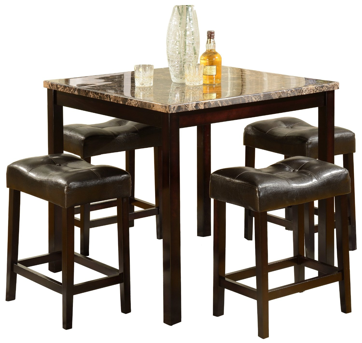 Square Marble Top Brown Polished Of High Table Sets With Four Chairs
