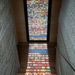 Stained glass interior door with colorful square shaped motifs