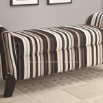 Striped Design Upholstered Bench With Storage