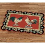 Stylish Rooster Kitchen Rugs Border Design