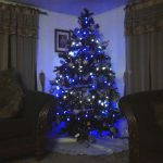 Tree With Blue And White Christmas Lights