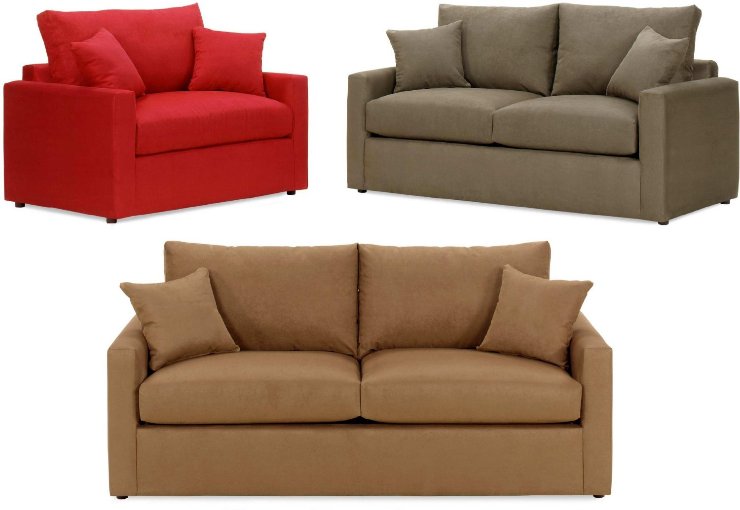 Triple Diffe Color Of Twin Size Sleeper Sofa With Double Pillows