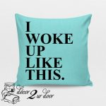 Turquoise Color With Black Word Design Of Monogrammed Throw Pillows