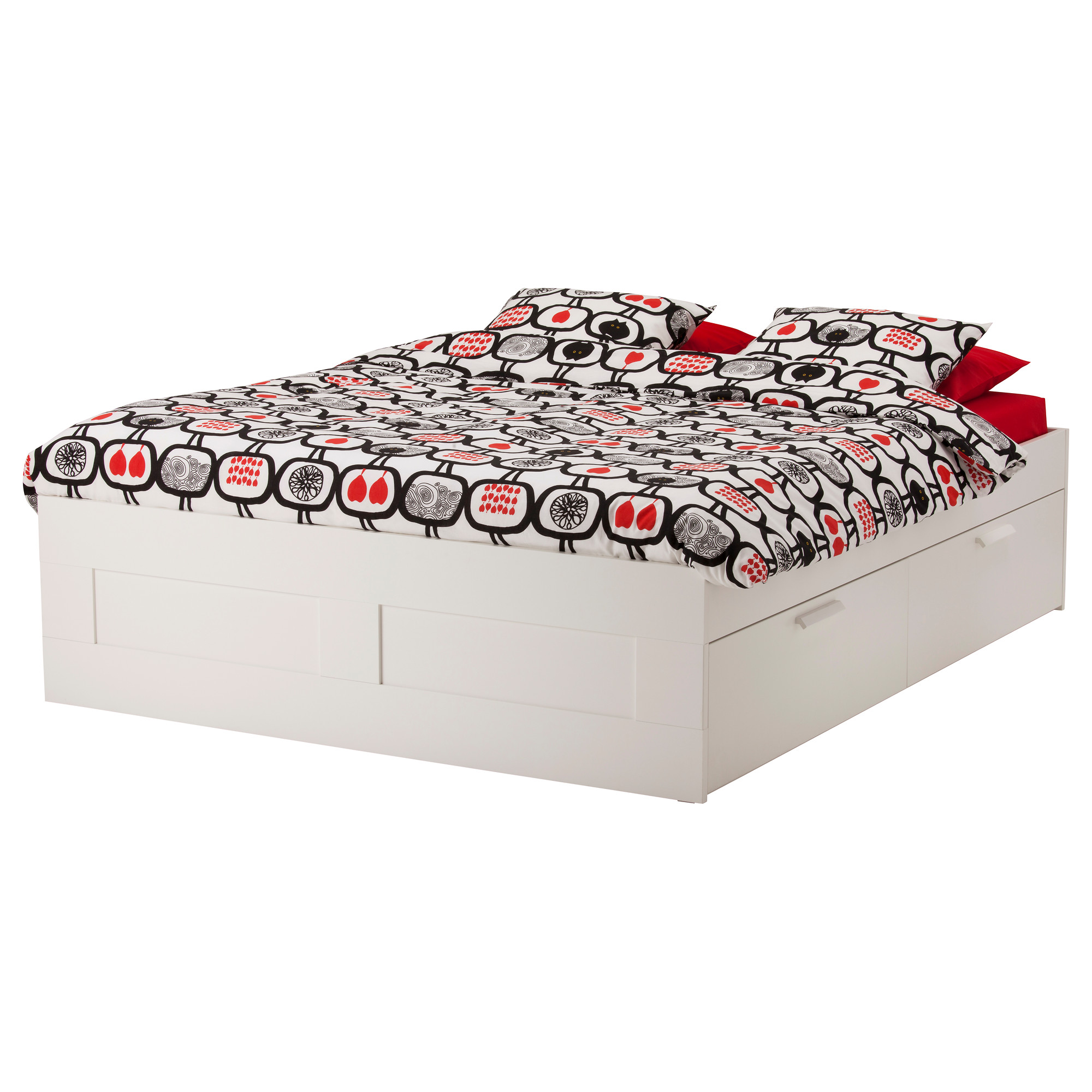 Unique Pattern Of Bed And Piilows With White Ikea Frame Drawers