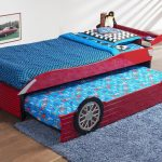 Unique trundle with bed addition for kids in car theme blue shag bedroom rug