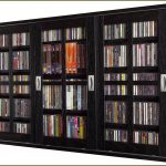 Wall Mounted DVD Storage Cabinet With Glass Doors