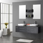 Wall mounted dresser idea with two white sinks two stainless steel water faucets two frameless mirrors two black wall mounted shelving units small white bathroom mat