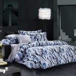 White Blue Black Pattern Of Bedding With Cool Comforter Sets And Fur Floor Lamp