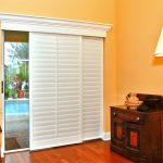 White Glass Door Coverings For Sliding Door Near Small Wooden Cabinet And White Floor Lamp