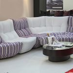 White Purple Stripped Design Of Most Comfortable Sofas With Round Coffee Table