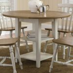 White Wooden Chairs With Round Dining Table Set With Leaf And Shelves
