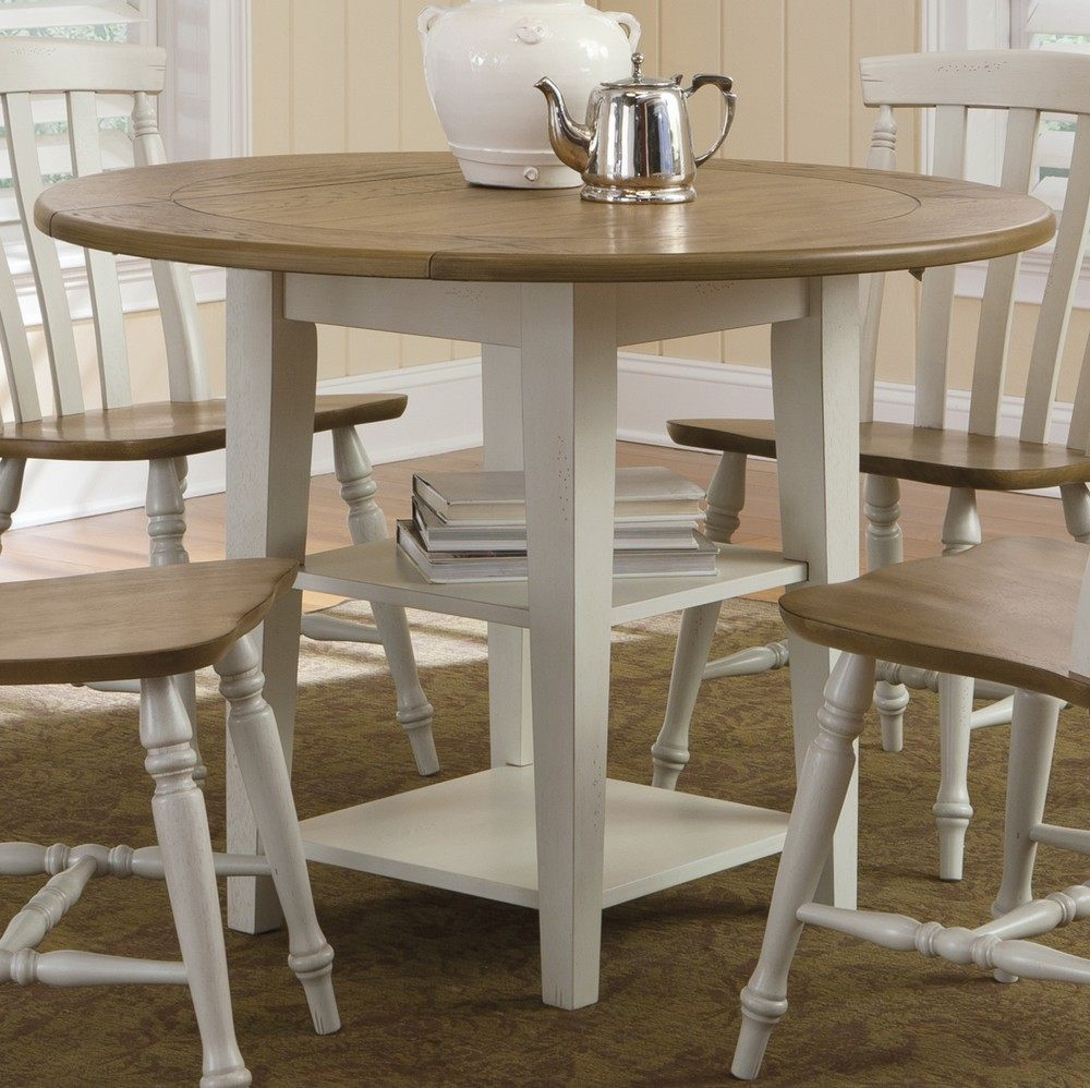 White Wooden Chairs With Round Dining Table Set Leaf And Shelves