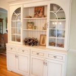 White Wooden Storage Cabinet With Glass Doors