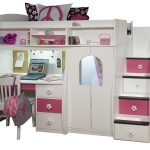 White and pink loft berg by Berg with closet organizer stairs deks and bookshelves