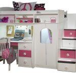 White and pink loft berg by Berg with closet organizer stairs deks and bookshelves