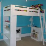 White bunk with desk and stairs