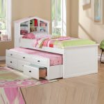 White double trundle bed design with drawers and headboard girly bedroom rug with multi color patterns