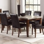 Wonderful Granite Dining Table Set With Six Black Leather Chairs And White Rug