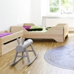 Wood toddler bed frame in modern style