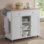 Wood top kitchen cart with storage and wheels