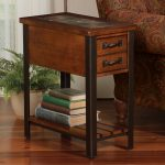 Wooden Slate End Tables With Two Small Desks And Book Shelf