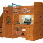 Wooden loft bed idea designed by Berg which is completed with computer desk built in storage system built in cloth closet organizer and built in stairs