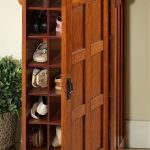Wooden shoes storage with door