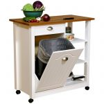 Wooden top kitchen cart idea with large cabinet shelves and wheels