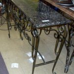 Wrought Iron Sofa Table With Marble On Top
