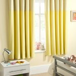 Yellow Blackout Curtains Nursery With Small White Table