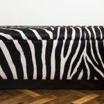 Zebra print bench idea with under storage