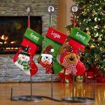 a-charming-and-creative-with-personalized-christmas-stockings-holder-stand-wrought-iron-stand-with-personal-photo-in-each-stand