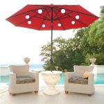 admirable lighted patio umbrella with cool table and patio chairs feat pool behind