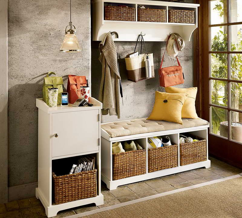 Adoning The Small Bench With Storage White Painted And Rattan Baskets Together Dresser