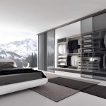 adorable bedroom interior design with black gray bedding idea and storage closet with sliding glass door