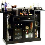 adorable black and compact home bar ikea design with convertible table and wine racks