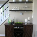 adorable black wooden home bar ikea design with wine rack and potter plant on wall racks