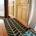 adorable turquoise kitchen rug and mat with chevron pattern on wooden floor with wooden cbainet