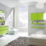 adorable white bathroom design with green vanity and wall unit and floor lamp and contemporary gray area rug