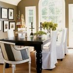 adorable white  slip cover for dining room chairs design with long sleeve around black dining table and patterned ar, chair
