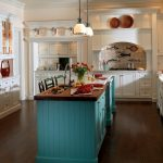 adorable white small kitchen design with glass window and luxurious retro turquoise island with wooden top and pendant and wooden floor and stools