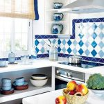 amazing blue kitchen trend fashion 2015 diamond shaped tiles backsplash and glass window with white cabinetry with unique creamy drape