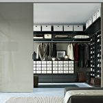 amazing gray interior design with black wall storage and black tripod floor lamp and glass window and black bedding