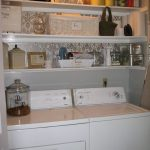amazing laundry room shelf ideas with wall mounted shelves and decorative elements together with stunning wallpaper