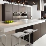 amazing white gray wenge kitchen fashion trend with white stools and extended bar with pendants and gray cabinet