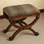 animal print vanity bench with curly and beautiful wood base