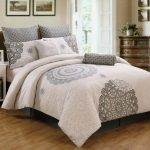 Antheia California King Bed Comforter Sets Consisting Of 8 Pieces With Charming Pattern And Soft Color Scheme Featuring White Nightstand And Table Lamp And Dresser